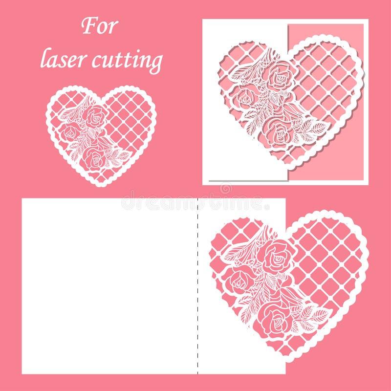 Corte do laser Teste padrão do envelope com um teste padrão das rosas Coração do laço do casamento ou do Valentim ilustração royalty free