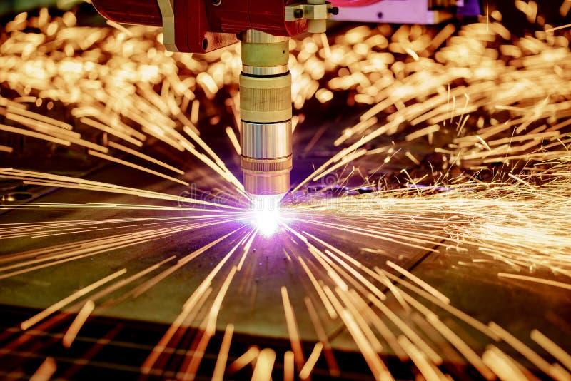 Corte do metal, tecnologia industrial moderna do plasma do laser do CNC imagem de stock royalty free