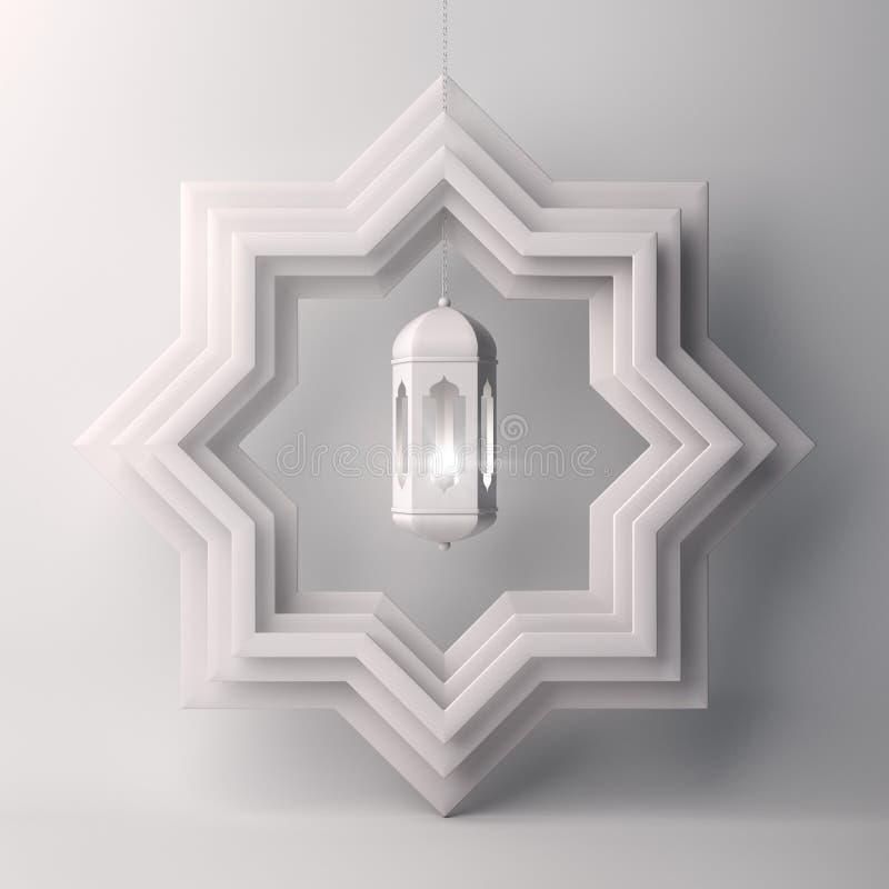 Corte do papel da estrela de oito pontos e lâmpada de suspensão no fundo branco ilustração stock