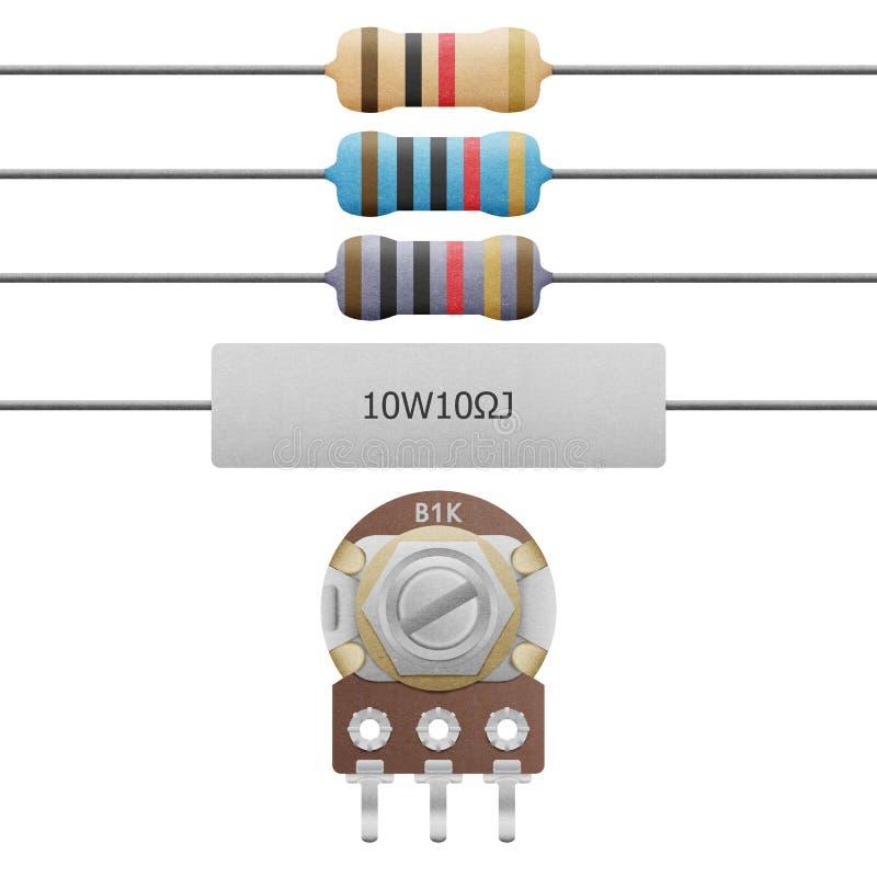 Corte do papel da faixa do resistor 4-6, do resistor do cimento e do res variável ilustração stock