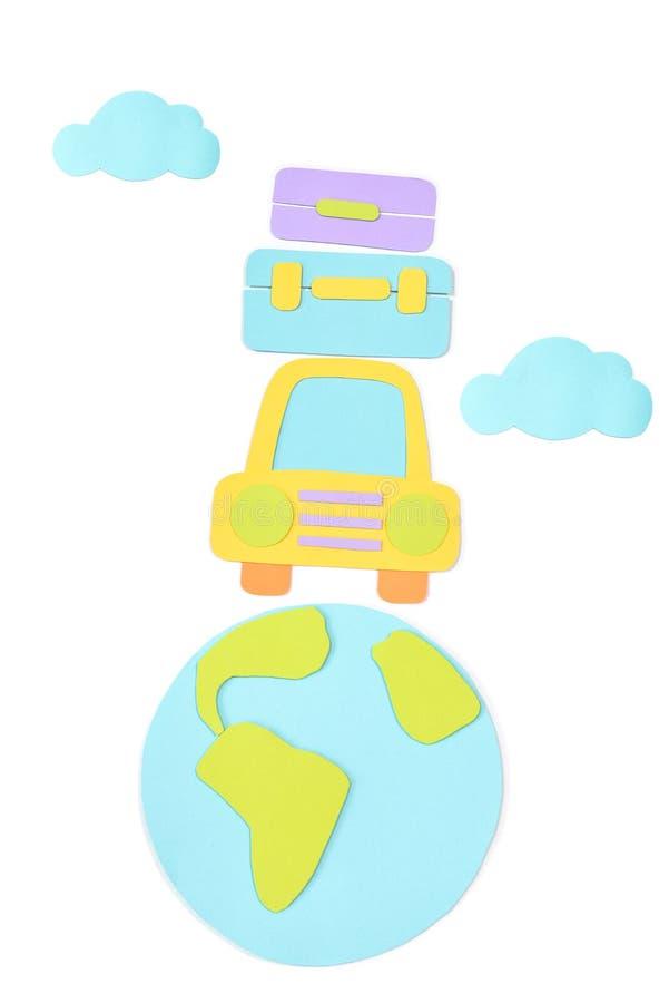 Corte do papel da viagem por estrada no fundo branco ilustração do vetor