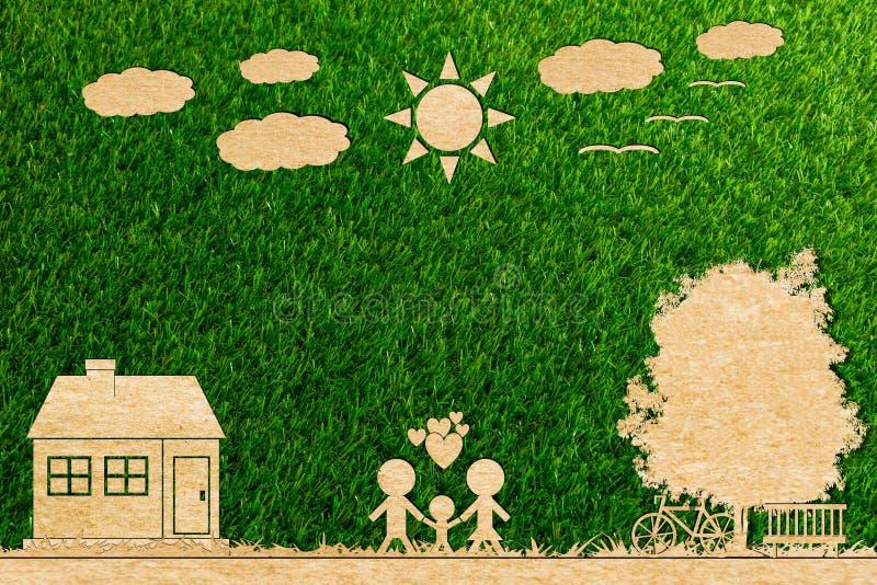 Corte do papel de conceito da ecologia da nuvem da árvore do sol da casa do amor da família fotografia de stock royalty free