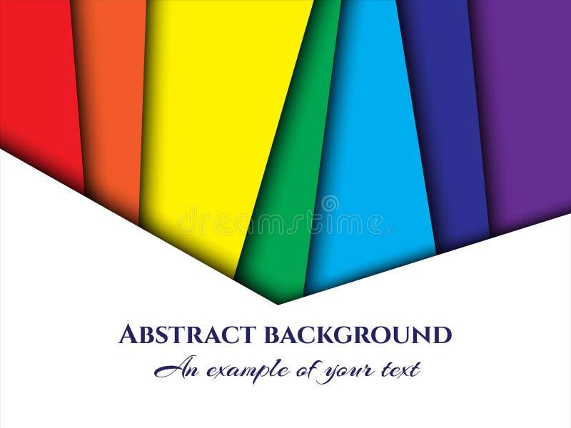 Corte do papel de fundo Ornamento de papel abstrato para o projeto com camadas multi-coloridas retas Arte da cinzeladura Vetor ilustração royalty free