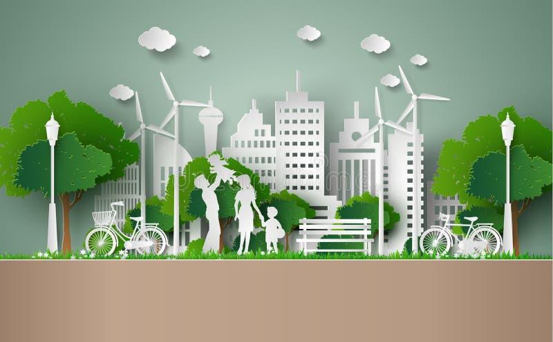 Corte do papel do conceito do eco ilustração stock