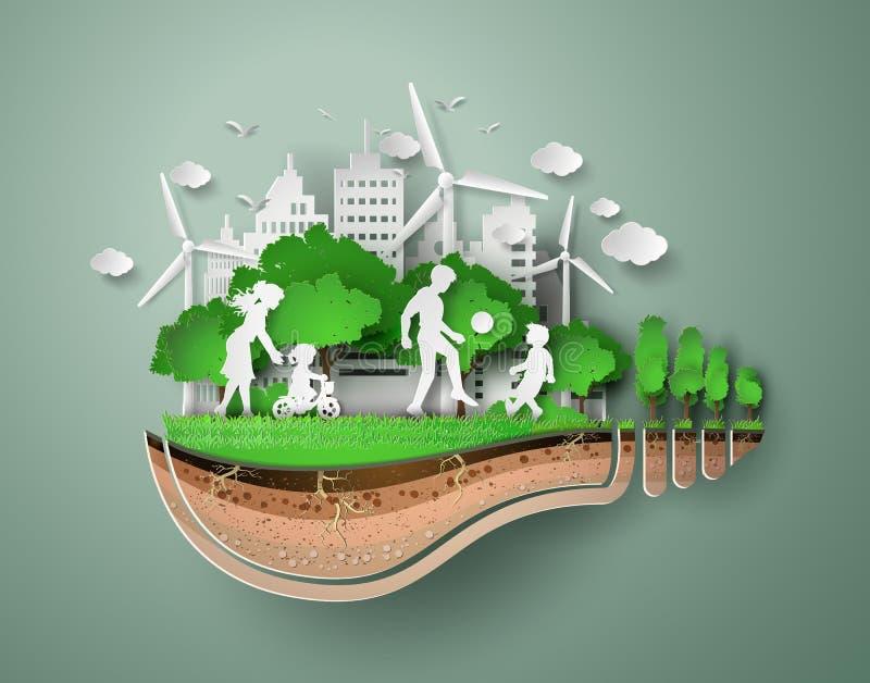 Corte do papel do eco ilustração stock
