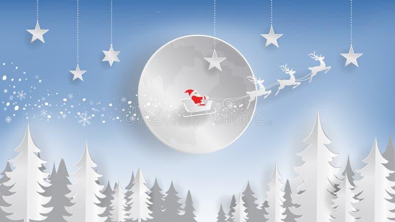 Corte do papel, Feliz Natal e ano novo feliz, Papai Noel e rena voando sobre a lua ilustração royalty free