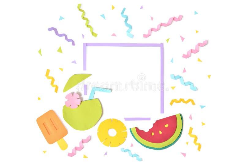 Corte do papel do quadro do quadrado do fruto do verão no fundo branco ilustração do vetor