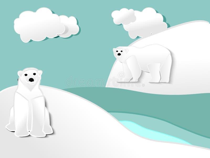 Corte do papel do urso dois polar ilustração do vetor