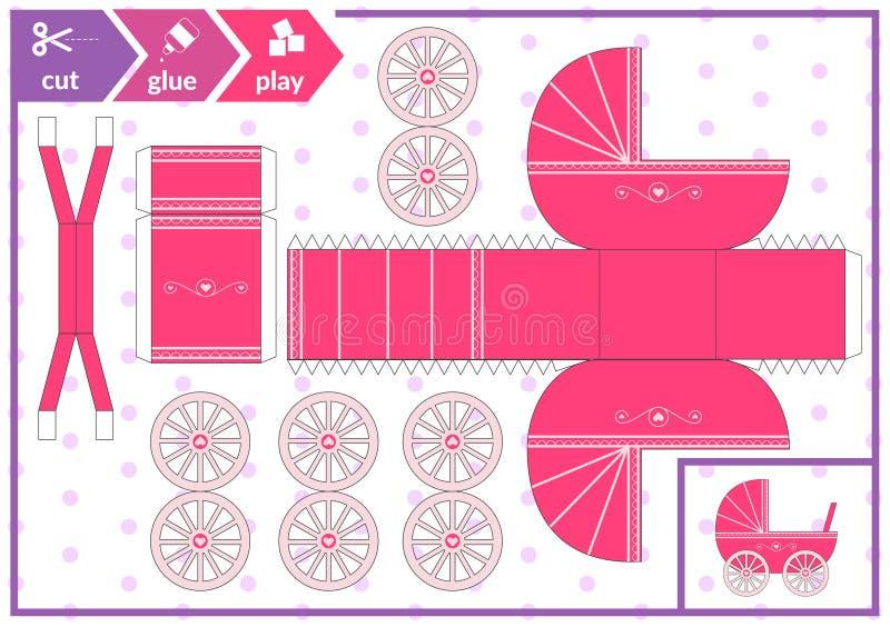 Corte e colagem um transporte de bebê Jogo da arte das crianças para a página da atividade Pram 3d de papel Ilustração do vetor ilustração royalty free