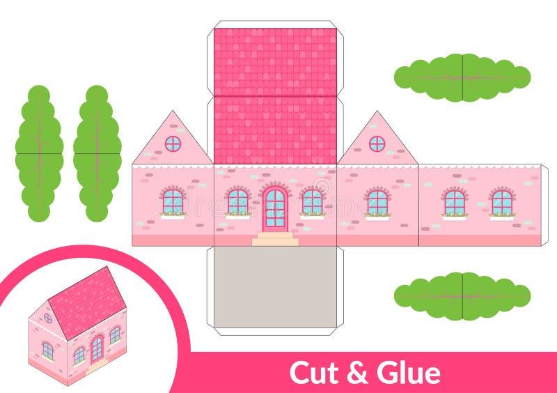Corte e colagem uma casa Jogo da arte das crianças para a página da atividade Modelo 3d de papel Ilustração do vetor ilustração stock