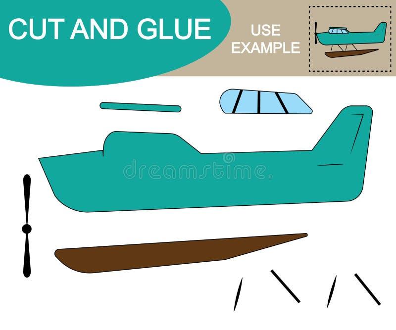 Corte e cole para criar a imagem do transporte aéreo do hidroavião ilustração stock