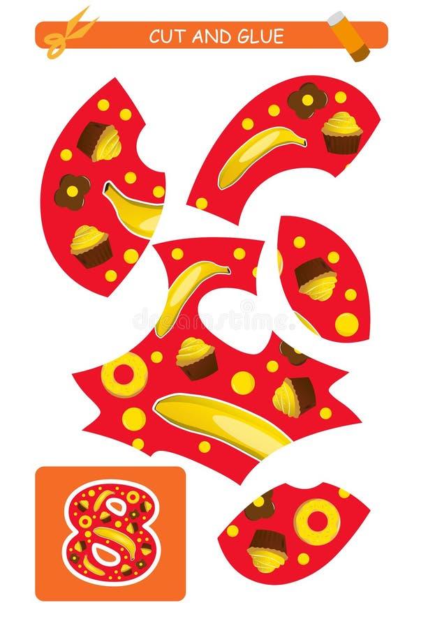 Corte e folha da colagem: número 8 Jogo educacional para crianças Aprendendo números ilustração stock