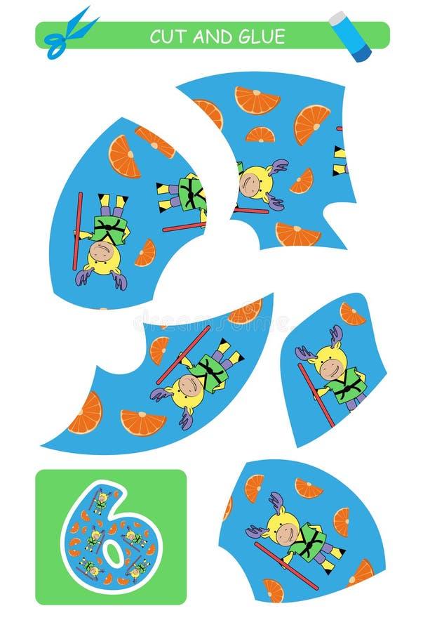 Corte e folha da colagem: número 6 Jogo educacional para crianças Aprendendo números ilustração royalty free