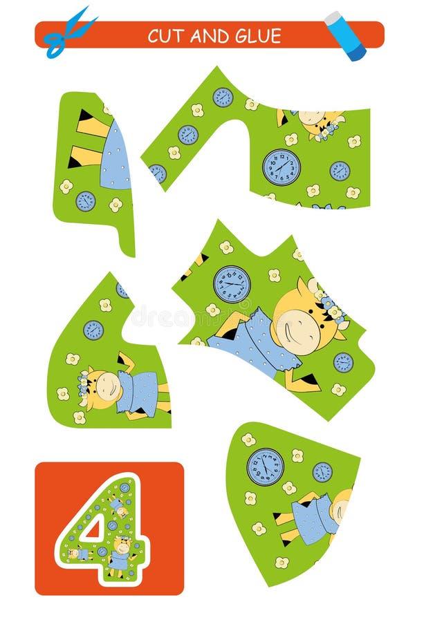 Corte e folha da colagem: número 4 Jogo educacional para crianças Aprendendo números ilustração royalty free