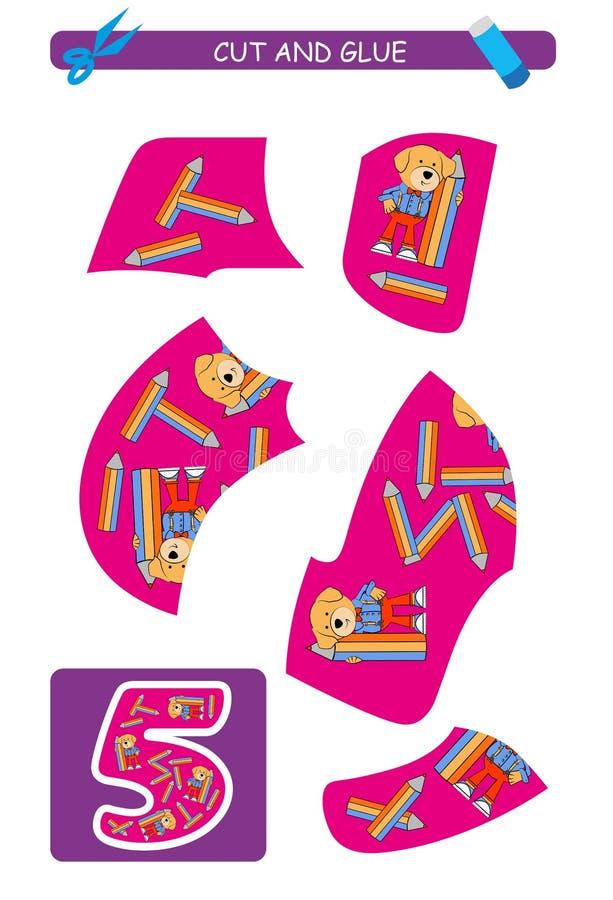 Corte e folha da colagem: número 5 Jogo educacional para crianças Aprendendo números ilustração stock