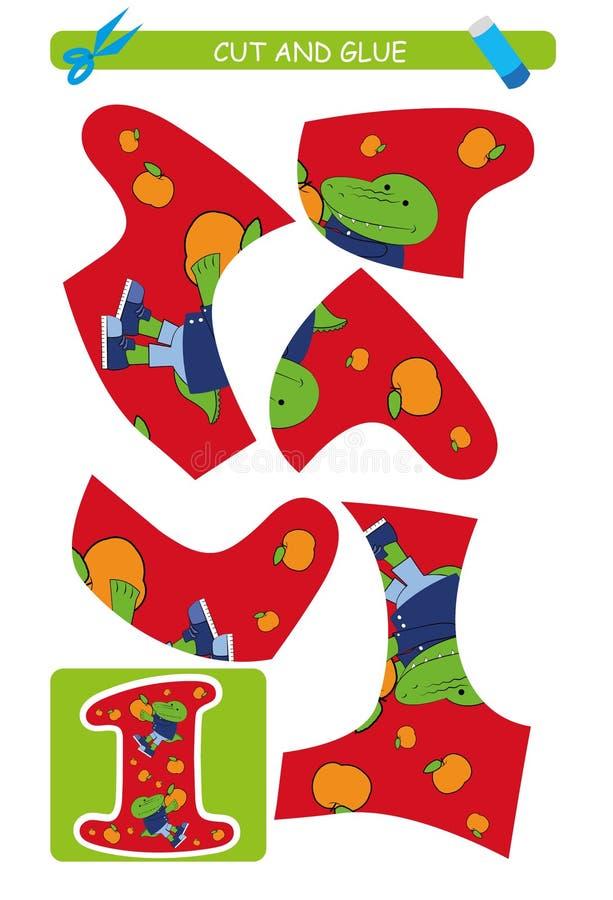 Corte e folha da colagem: número 1 Jogo educacional para crianças Aprendendo números ilustração stock