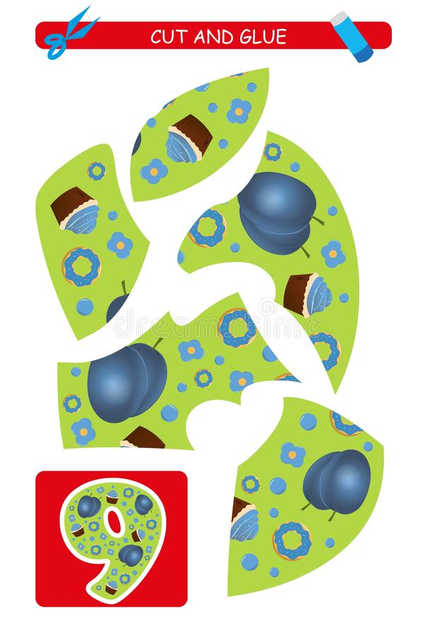 Corte e folha da colagem: número 9 Jogo educacional para crianças Aprendendo números ilustração royalty free