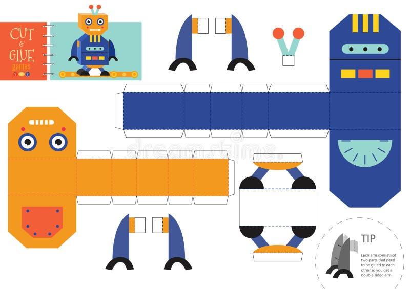 Corte e ilustração do vetor do brinquedo do robô da colagem, folha Ofício de papel e crivo diy ilustração stock