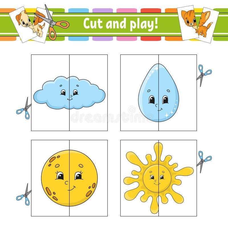 Corte e jogo Cartões instantâneos Enigma da cor Folha tornando-se da educação Página da atividade Jogo para crianças Caráter engr ilustração stock