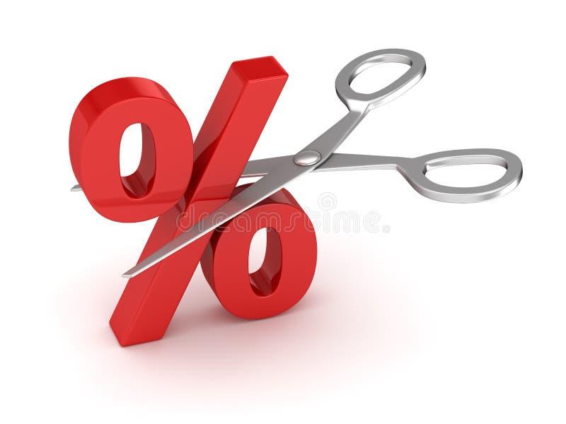 Corte e tesouras dos por cento ilustração royalty free