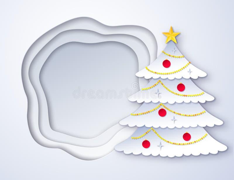 Corte el árbol de navidad de papel libre illustration