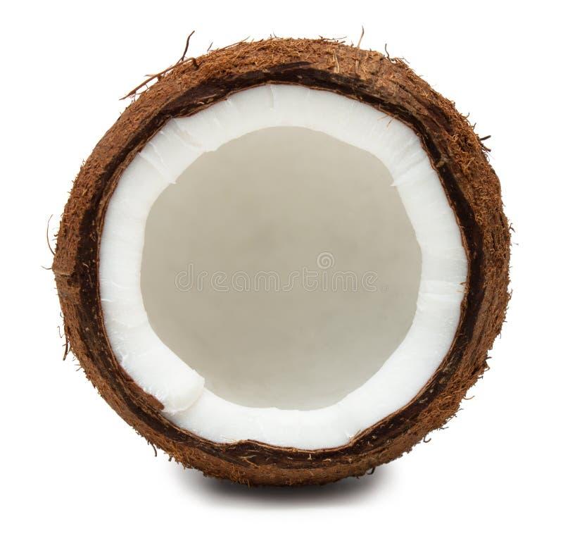 Corte el coco aislado en blanco imagen de archivo