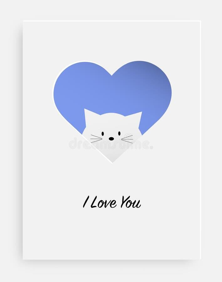 Corte el corazón en el papel y el gato blanco stock de ilustración