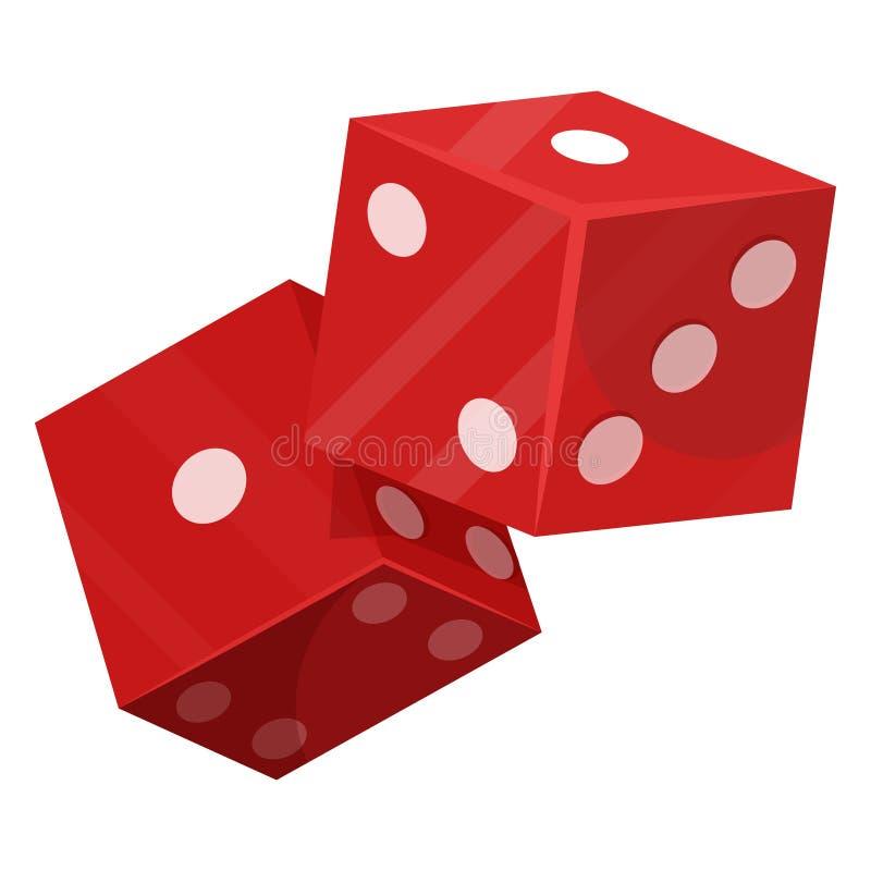 Corte el icono del juego en cuadritos de la suerte, jugando y apostando libre illustration