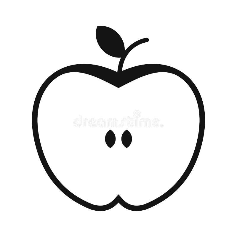 Corte el icono simple de la manzana stock de ilustración