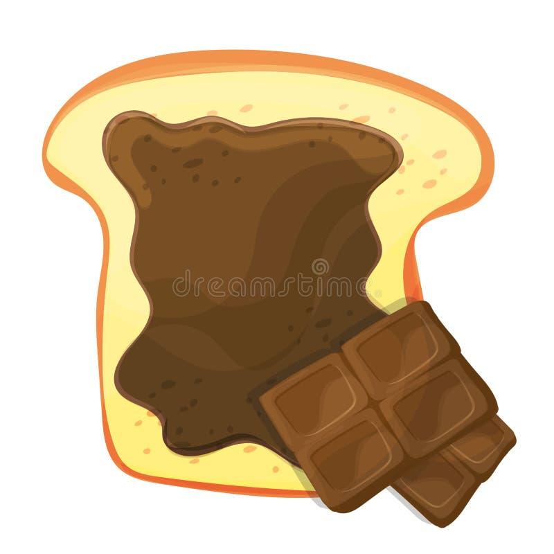 Corte el vector del pan o de la tostada con el ejemplo aislado marrón del chocolate dulce libre illustration