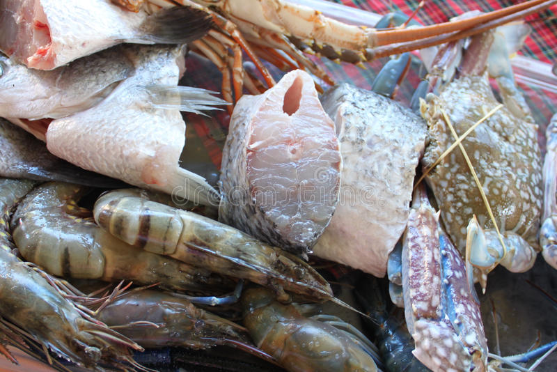 Corte em partes pequenas dos peixes brancos e do camarão foto de stock royalty free