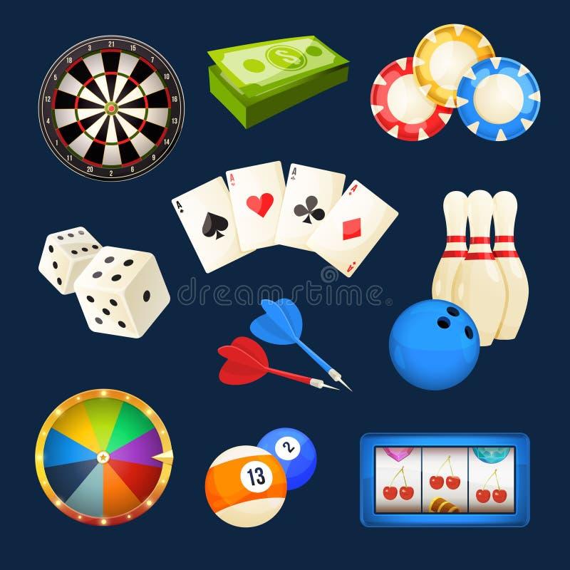 Corte, encurralar, jogos do casino, cartões e outros entretenimentos populares Grupo do ícone do vetor ilustração royalty free