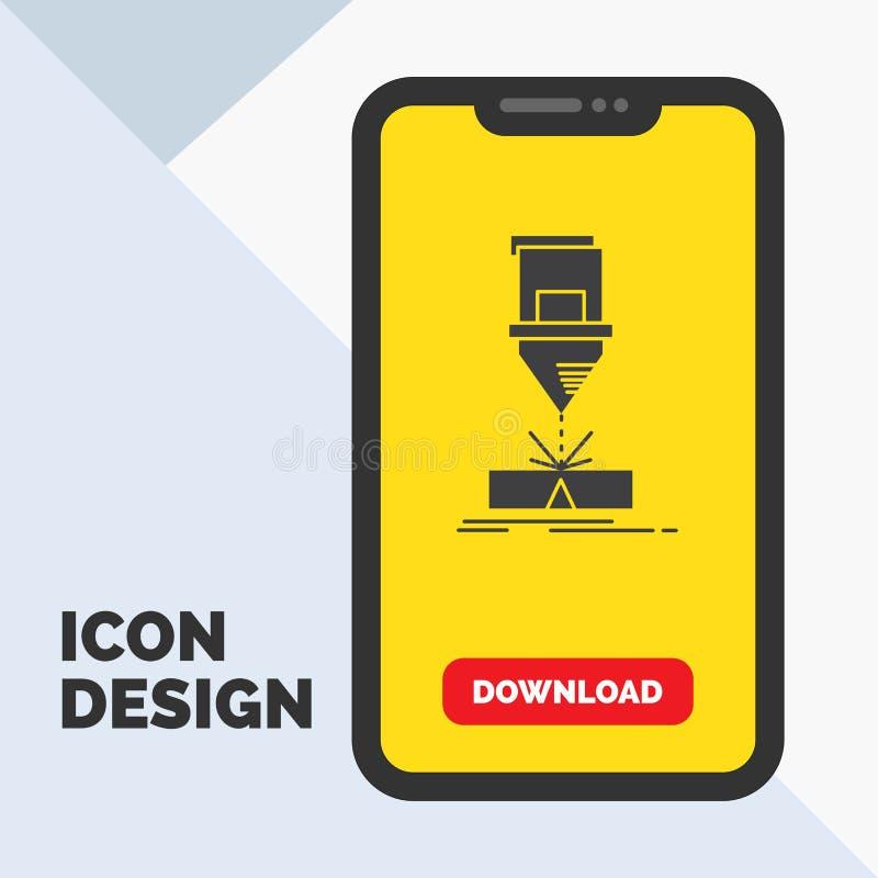 Corte, engenharia, fabricação, laser, ícone de aço do Glyph no móbil para a página da transferência Fundo amarelo ilustração do vetor