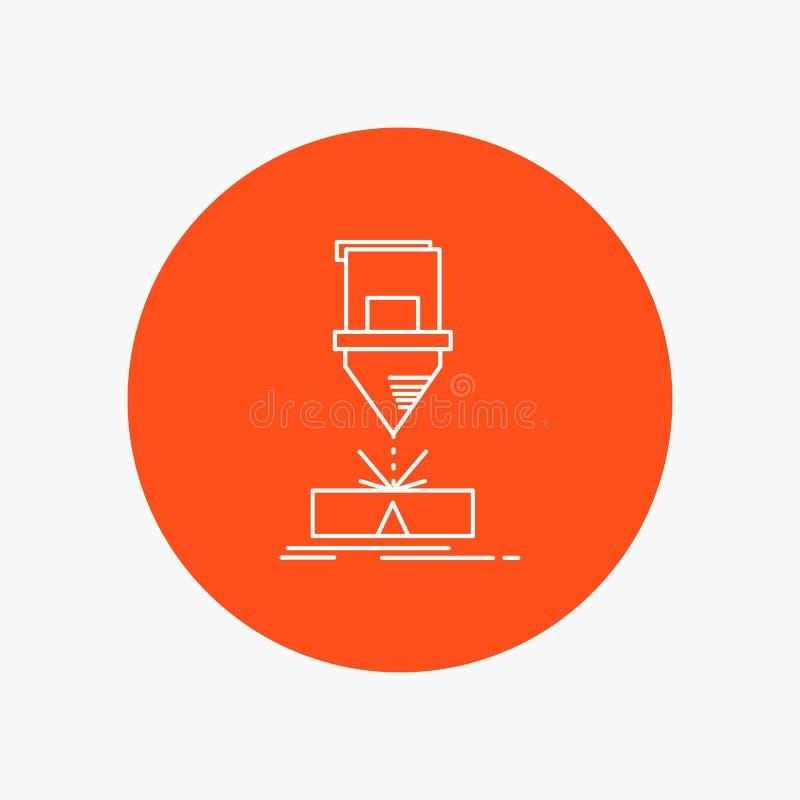 Corte, engenharia, fabricação, laser, linha branca de aço ícone no fundo do círculo Ilustra??o do ?cone do vetor ilustração stock