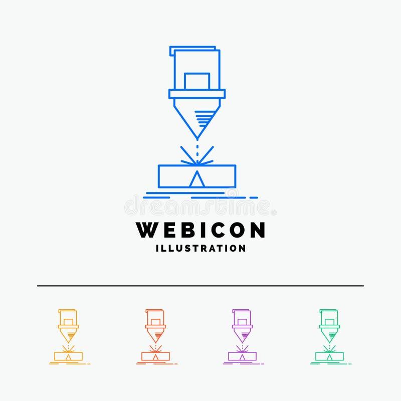 Corte, engenharia, fabricação, laser, linha de cor 5 de aço molde do ícone da Web isolado no branco Ilustra??o do vetor ilustração royalty free
