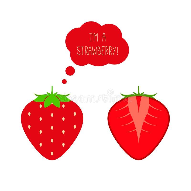 Corte entero y medio de la fresa madura roja del vector El pensamiento o piensa la burbuja Ejemplo plano del estilo stock de ilustración