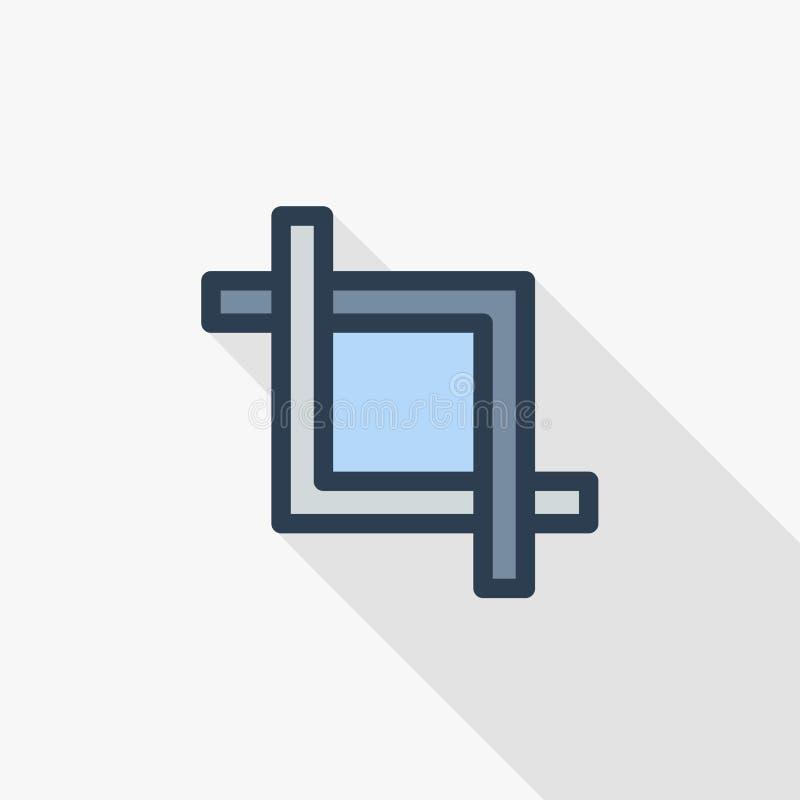 Corte, grampo, foto ou vídeo do quadro editando a linha fina ícone liso da cor Símbolo linear do vetor Projeto longo colorido da  ilustração do vetor