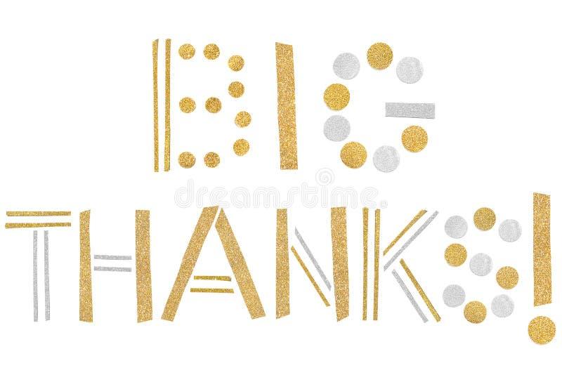 Corte grande do papel do texto dos agradecimentos no fundo branco ilustração stock