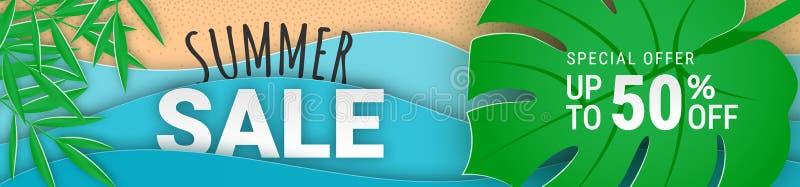 Corte horizontal estrecho del papel de la bandera de la venta del verano stock de ilustración