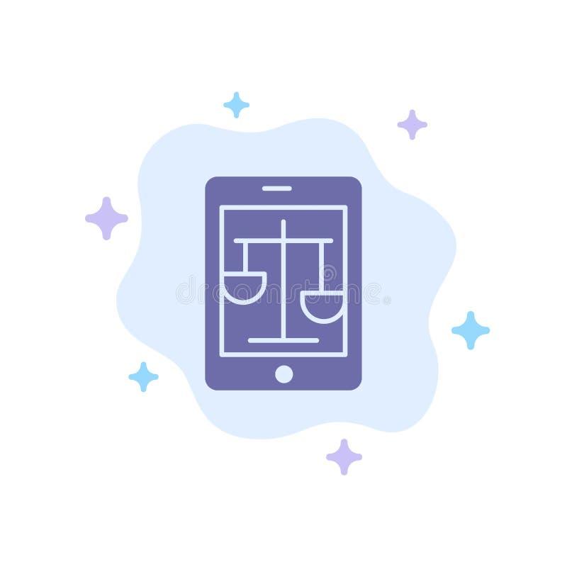 Corte, Internet, legge, icona blu legale e online sul fondo astratto della nuvola illustrazione di stock