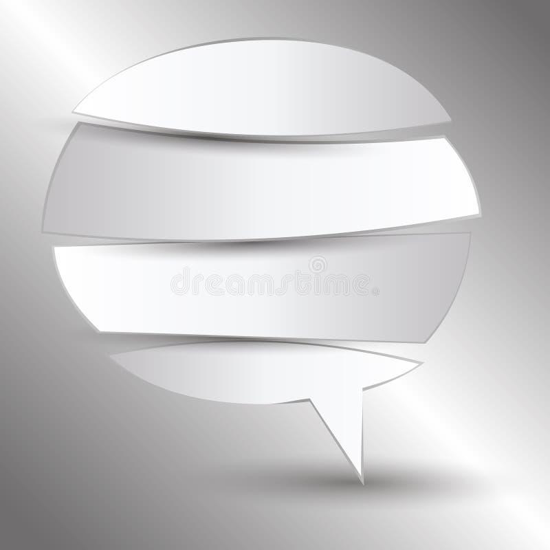 Corte la burbuja de papel del discurso ilustración del vector