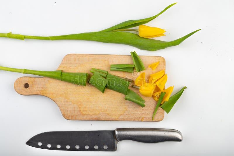 Corte la cabeza de un tulipán en una tabla de cortar de la cocina Flor de corte en la cocina imagen de archivo libre de regalías