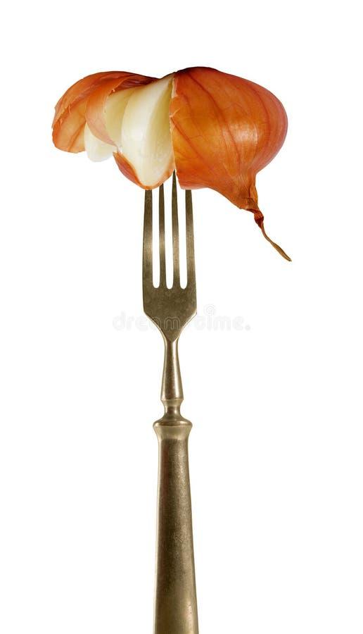 Corte la cebolla en la fork. fotos de archivo