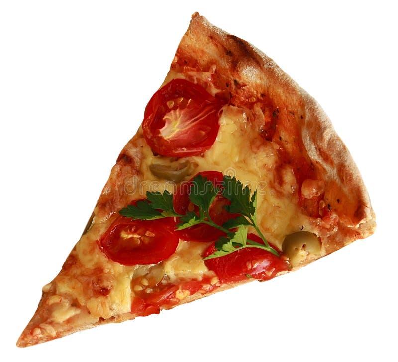 Corte la pizza de la rebanada aislada en el fondo blanco imagenes de archivo