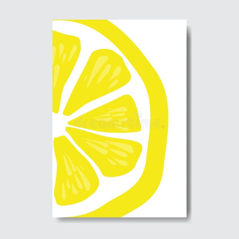 Corte la tarjeta de la plantilla del limón, cartel en el fondo blanco, cartel vertical de la fruta fresca de la rebanada del foll stock de ilustración