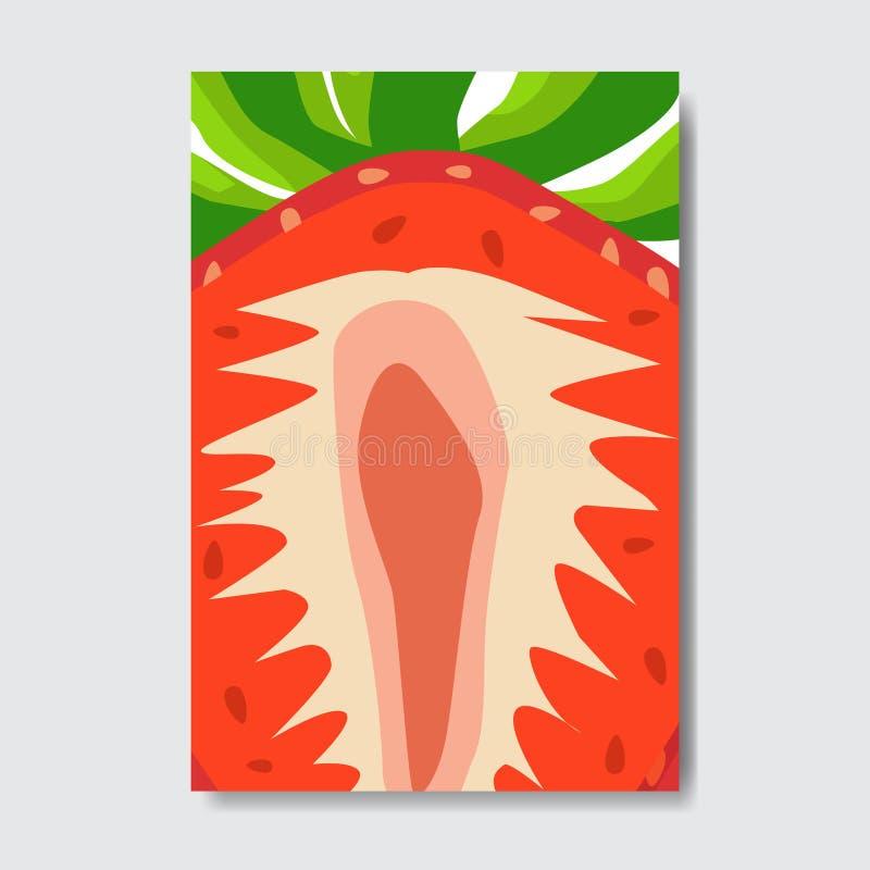 Corte la tarjeta de la plantilla de la fresa, cartel de la fruta fresca de la rebanada en el fondo blanco, folleto vertical de la libre illustration