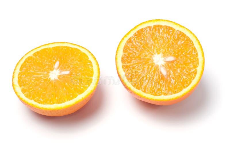 Corte a laranja no fundo branco fotografia de stock