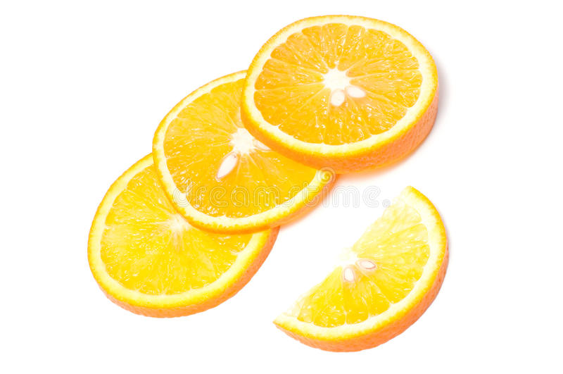 Corte a laranja no fundo branco fotos de stock