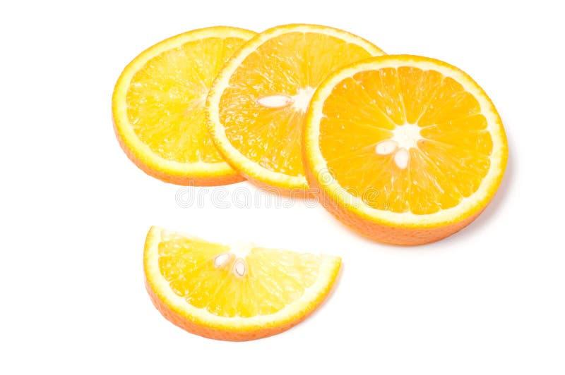 Corte a laranja no fundo branco fotografia de stock royalty free
