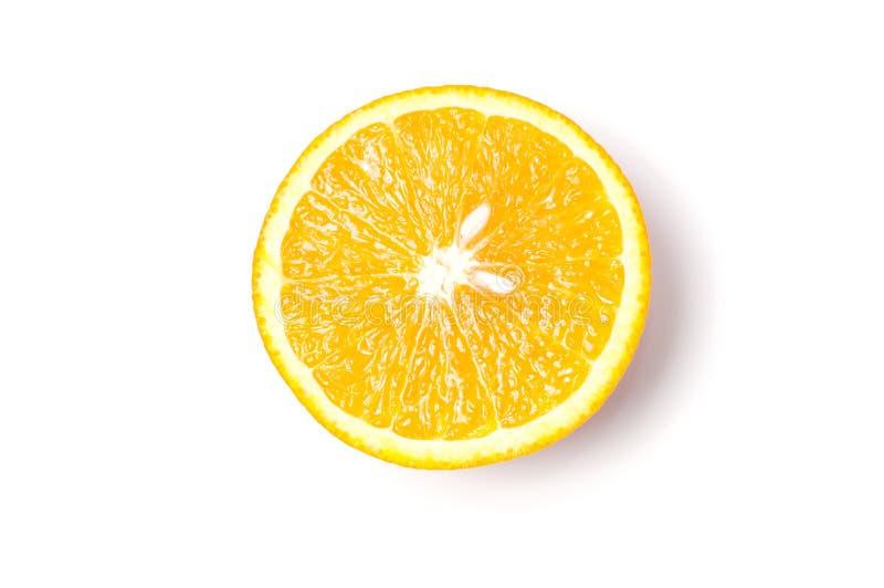 Corte a laranja no fundo branco imagens de stock royalty free